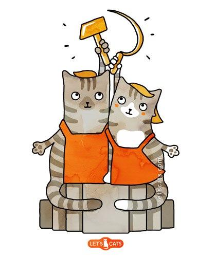 Анимация коты с днем победы